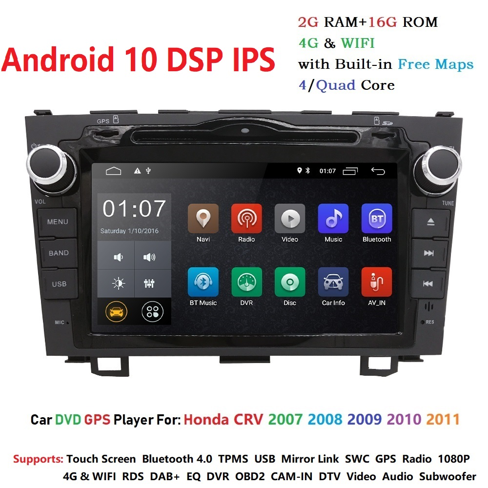 <font><b>Android</b></font> 10 HD 1024*600 Car DVD Player <font><b>Radio</b></font> For Honda CRV 2007 2008 2009 2010 2011 4G WIFI <font><b>GPS</b></font> Navigation Head Unit <font><b>2</b></font> <font><b>din</b></font> 2GRAM image