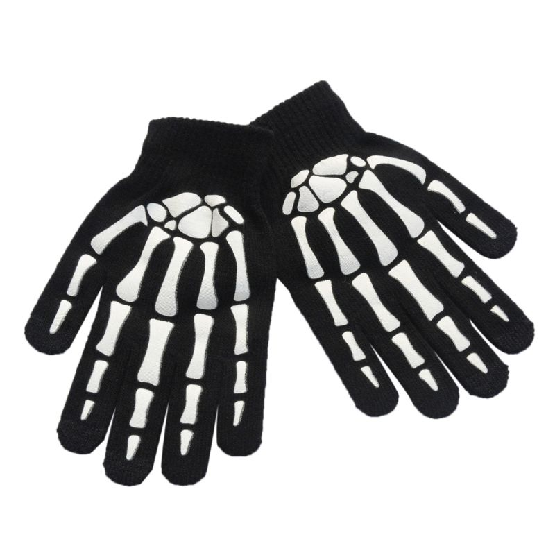 Unisex Unisex Adult Children Winter Cycling Full Fingered Gloves Halloween Horror Skull Claw Skeleton Anti-Skid Rubber Outdoor