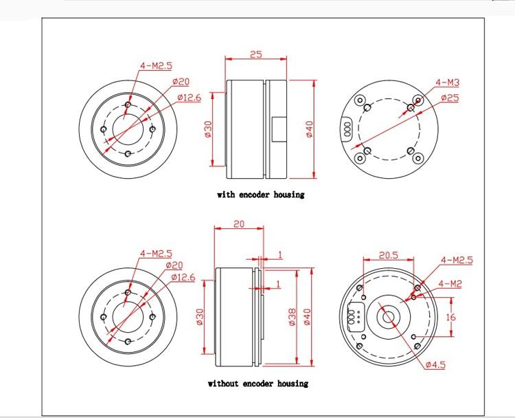 Codificador de Eixo Oco Motor para ILDC
