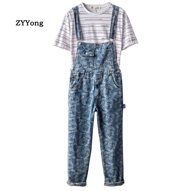 Man Bib Overalls Suspender Pants Retro Printing Jeans Loose Large Size Hip Hop Street Dance Jumpsuits Leisure Denim Trousers