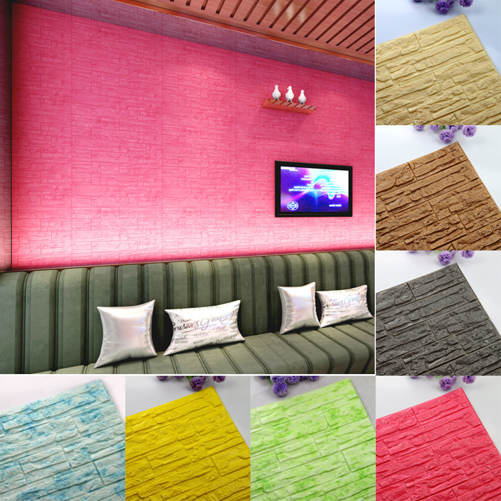 DIY 3D Brick PE Foam Wallpaper Panels Room Decal Stone Decoration Embossed Comfortable Warmth Quality  Fashion Elegant