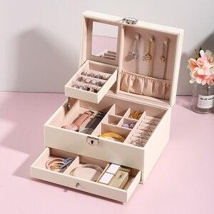 Image 1 - Grande boîte à bijoux en cuir PU multicouche, casier organisateur pour colliers, bagues, boucles doreilles, boîtes de rangement pour bijoux, 2020