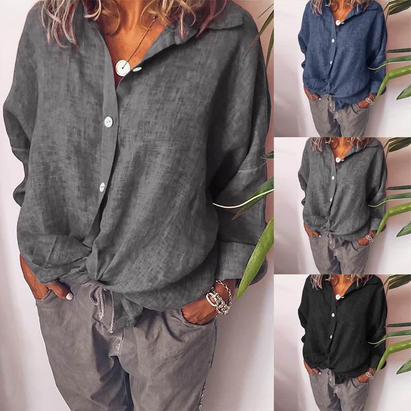 ZANZEA Women Blouse Shirt 5XL Turn Down Collar Tops Loose Shirt Ladies Casual Work Tunic Long Sleeve Buttons Blusas Femininas