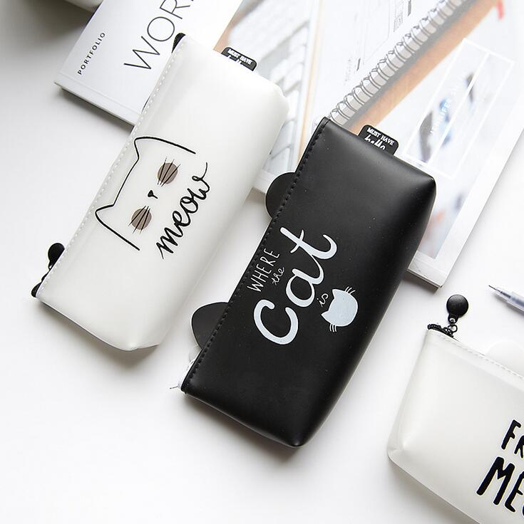 Simple Black & White Cat Silicone Pencil Case Stationery Storage Organizer Pencil Bag School Office Supply Escolar