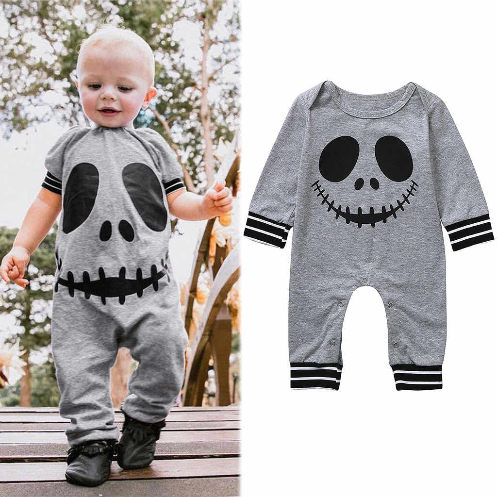 Baby Halloween Rompers Infant Boys Girls fall Long Sleeve Cartoon Skull Print Jumpsuit  Onesie Toddler Kids Clothes for Children