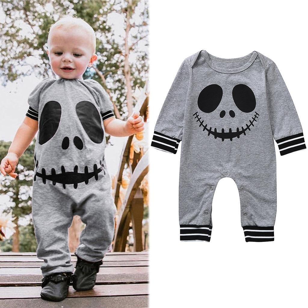 Baby Halloween   Rompers   Infant Boys Girls fall Long Sleeve Cartoon Skull Print Jumpsuit Onesie Toddler Kids Clothes for Children