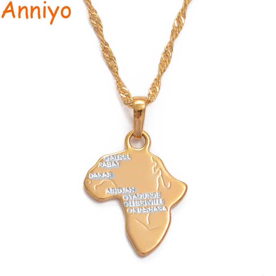 Anniyo mapa afryki wisiorek naszyjniki dla kobiet/dziewcząt róża dwukolorowe afrykańskie mapy biżuteria etiopska #034804