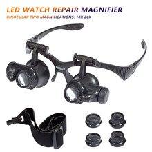 Vergrootglas Bril 10X 20X Vergrootglazen Horlogemaker Juwelier Loupe Voor Werken Solderen Diy Juwelier Horloge Elektronische Reparatie