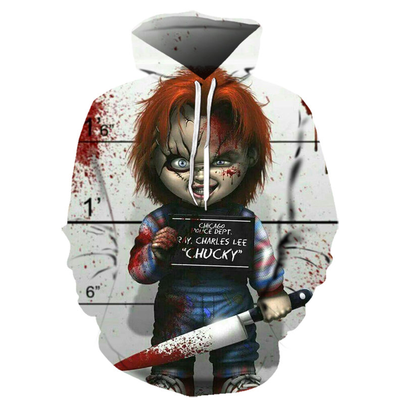 New Hot Arrival Horror Movie Character Chucky 3D Printed Hoodies Men Women Casual Clown Streetwear Halloween Hooded Sweatshirt