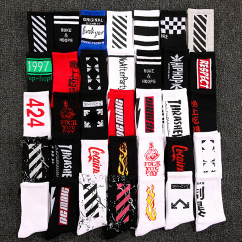 INS Style Men/Women Socks Europe And United States New Cotton Tide Socks In The Long Tube Streetwear Hip Hop Skateboarding Socks
