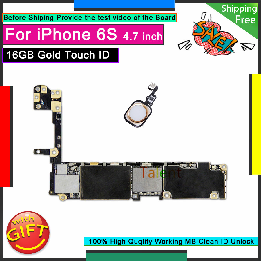 For IPhone 6S Motherboard 16GB Gold Touch ID Home Button Unlocked Original Mainboard Good Working Logic Board Tested Functions