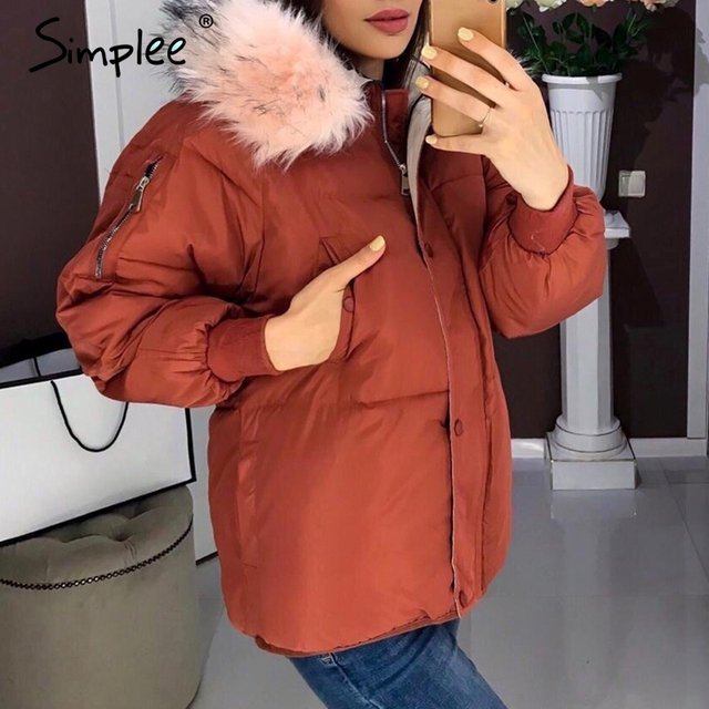 Simplee Casual fur hooded women parka Buttons zipper pocket winter female padded coat Oversize thick ladies outwear warm jackets