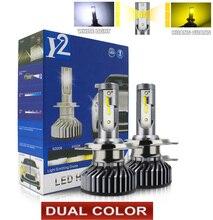 Lampe de voiture double couleur 16000LM H1 H4 H8 H9 H11 HB3 HB4 9005 9006, phares H7 Canbus H11 H7, ampoules pour voitures