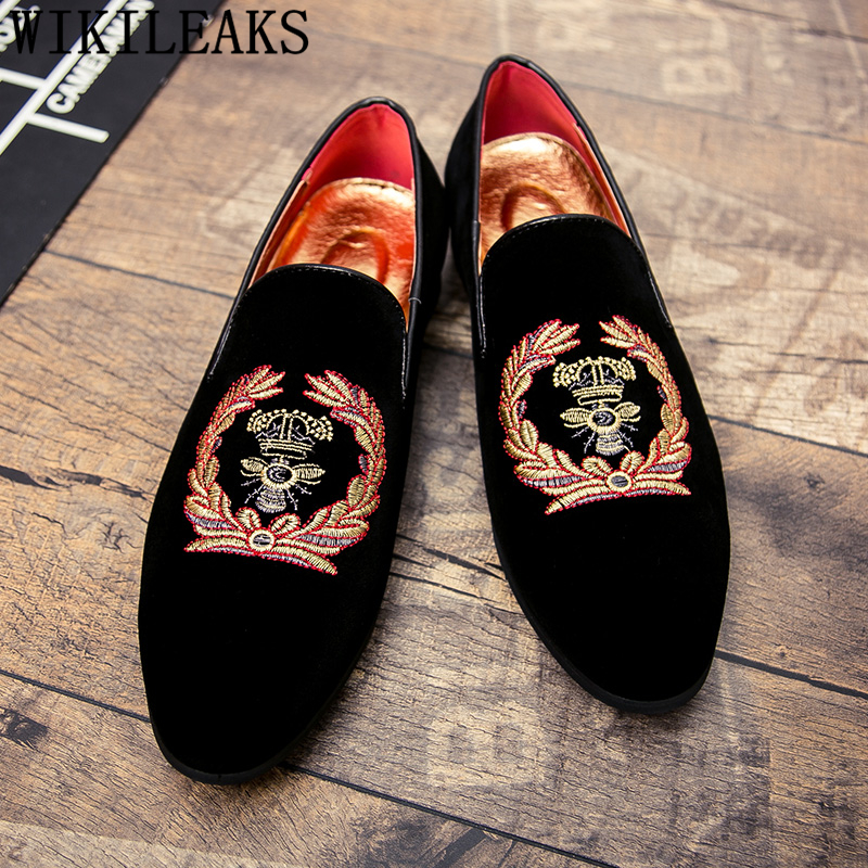 Embroidery Coiffeur Party Shoes For Men Loafers Fashion Formal Shoes Men Elegant Dress Shoes Men Wedding Sepatu Slip On Pria