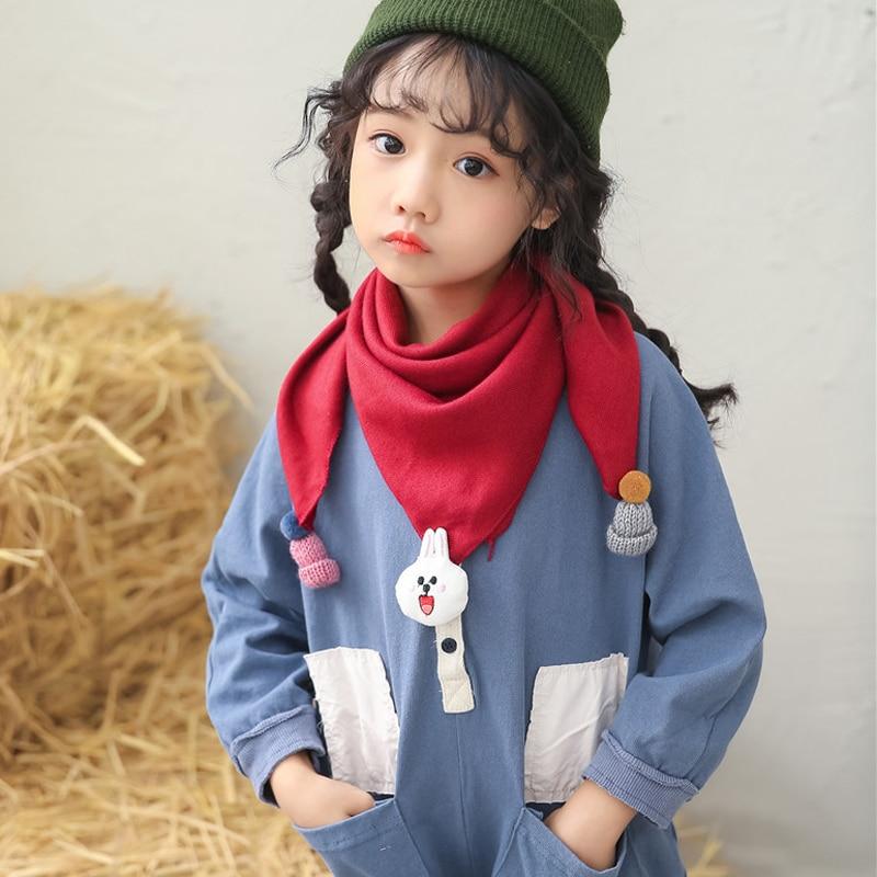 winter children scarves cartoon boys girls neckerchief cotton warm Triangle scarf bibs in Scarves from Mother Kids