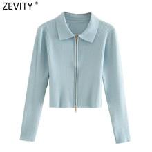 Zevity – Cardigan à manches longues et col rabattu pour Femme, chandail à Double glissière, fermeture éclair, mode solide, Chic, manteau, S486
