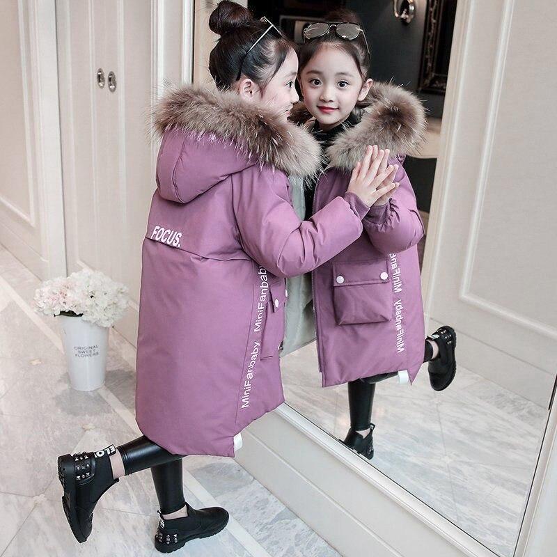 2020 зимние теплые куртки и пальто для девочек; Модная детская одежда с капюшоном из меха для девочек Водонепроницаемый детская верхняя одежд...