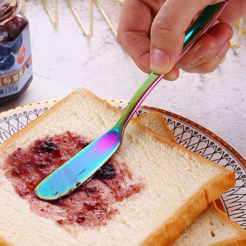 304 Aço Inoxidável Faca de Manteiga Queijo Sobremesa Jam Espalhadores Creme Ouro Preto Ouro Rosa Almoço Ferramenta Facas Talheres Ocidental