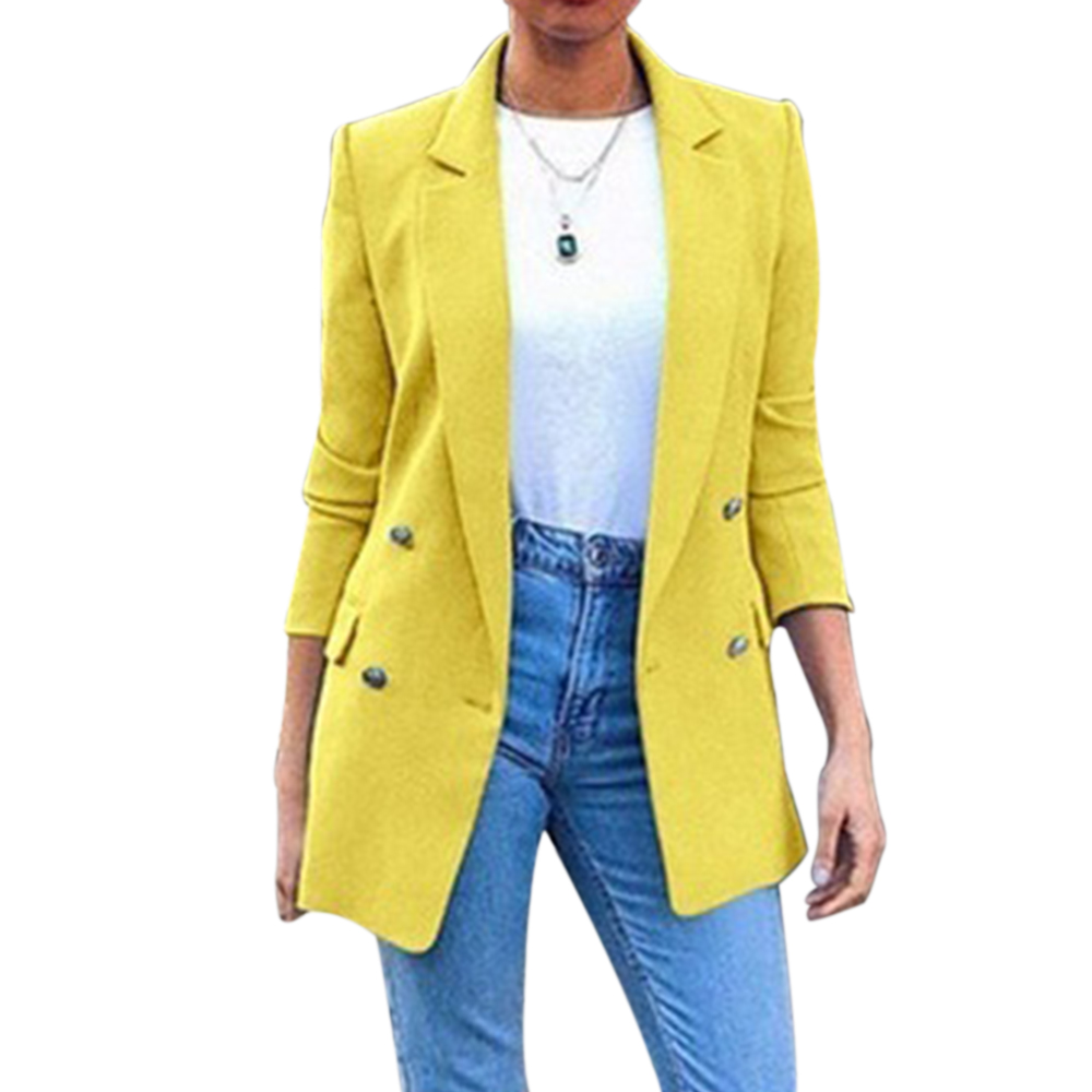 2019 Autumn New Blazer Womens Suit Long Solid Color Coats Office Ladies Turn Down Collar Casual Female Outerwear Suit Blazer