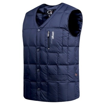 White Duck Down Jacket Vest Men Autumn Winter Warm Sleeveless V-neck Button Down Lightweight Waistcoat Fashion Casual Male Vest