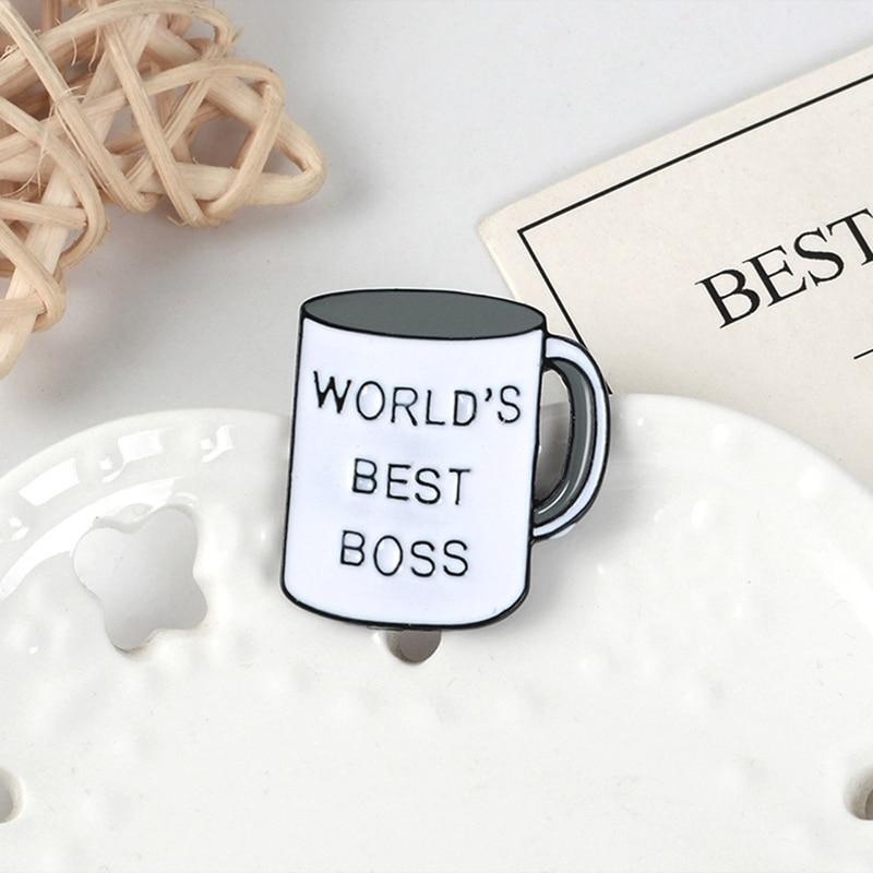 Worlds Best Boss Enamel Stud Pin Badge NEW
