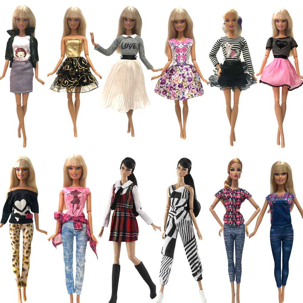 NK Two Set Multi-Group Optional Doll Dress Top Fashion Style Skirt Colorful Outfits For Barbie Doll  Accessories Best Gift JJ DZ