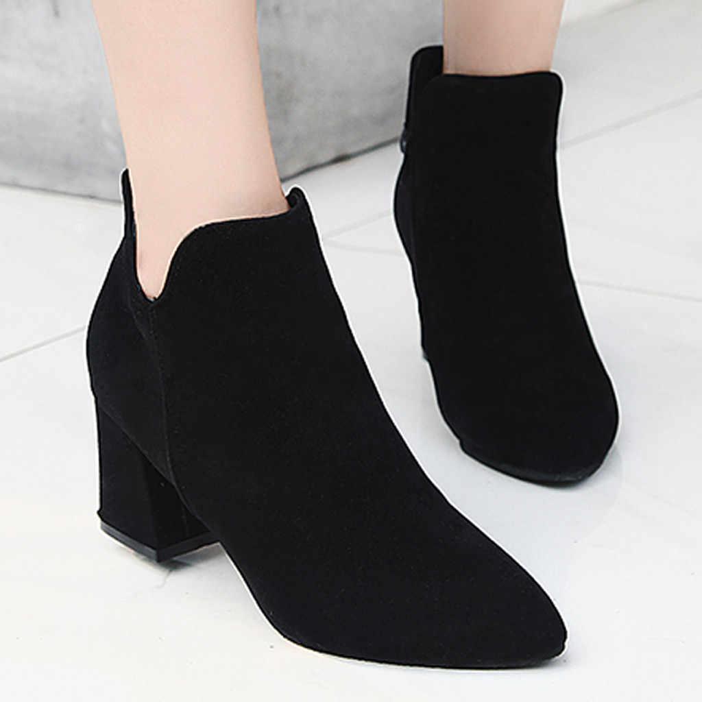Chelsea yarım çizmeler Kadınlar için Moda Akın Kare Topuklu Fermuar kısa çizmeler Bayanlar Düz Sivri Burun Ayakkabı Kadın botas mujer