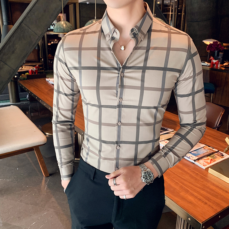 Camisa Masculina Autumn Winter Plaid Shirts Dress Men Long Sleeve Streetwear Mens Casual Shirts Slim Fit Formal Wear Blouses Men