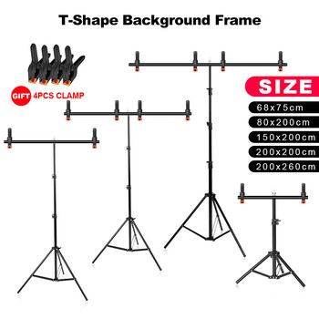 Photography T-Shape Background Frame Photo Backdrop Stands Support System Stands With Clamps for Video Studio Chroma Key no need stand kit 7colors 1 6x1m photography studio green screen chroma key background non woven backdrop for photo studio