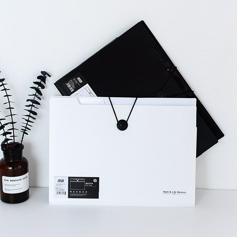 A4 Folder Binder  Office Organizers 5/12 Pockets  PP Document Organizer File Folder A4 Fashinable White&black Color