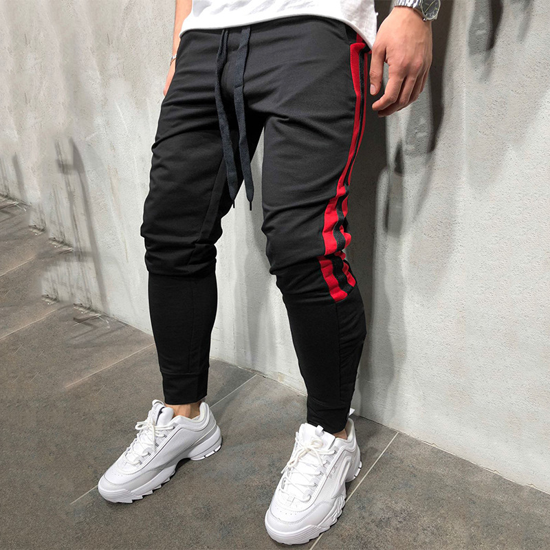 Men Track Pants NEW Fashion Hip Hop Fitness Streetwear Trousers Striped Drawstring Joggers Sweatpants Pantalon Homme