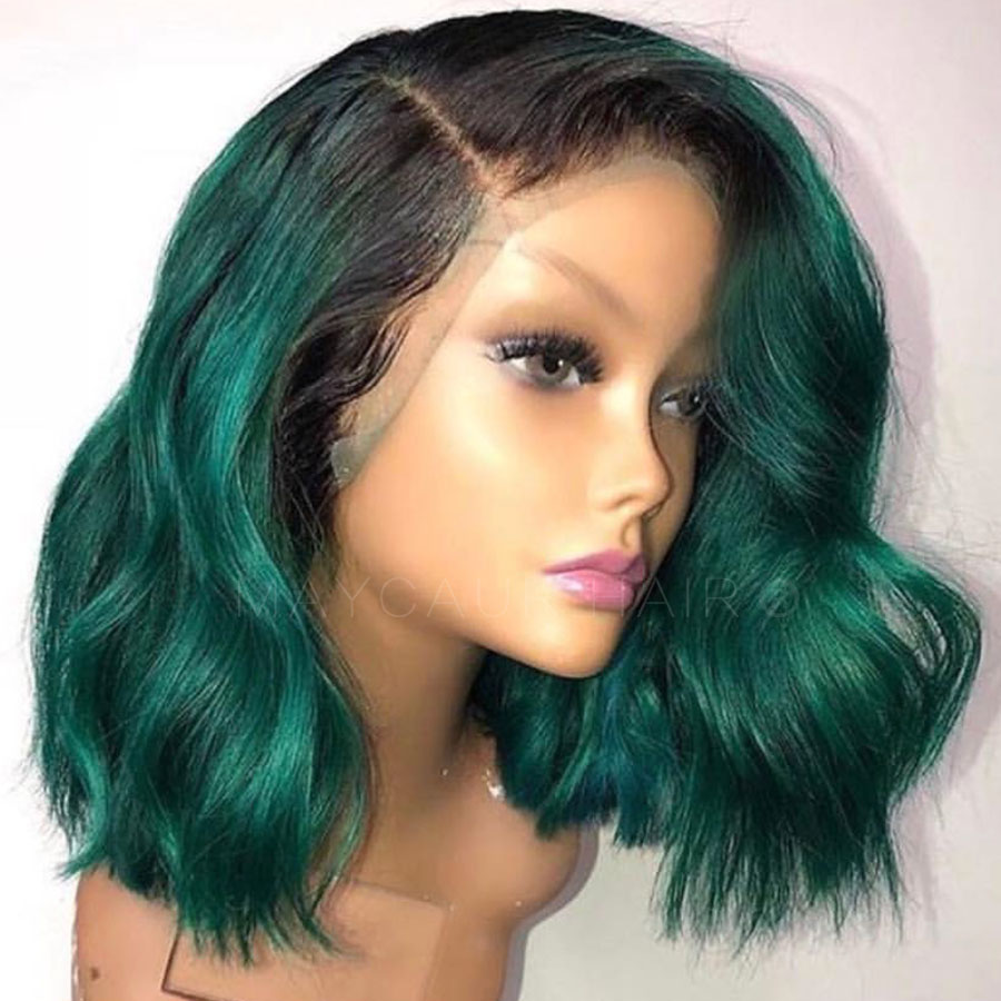 2 Tones Black Ombre Green Synthetic Lace Front Wigs Heat Resistant Fiber Hair Dark Roots Short Wavy Wigs For Women