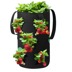 Hanging Strawberry Planting Grow Bags With Handles Thicken Vegetable Potato Greenhouse Planting Container Bag Garden Pot Storage