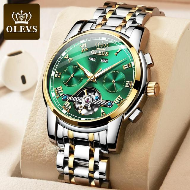 Mechanical Men Watches Automatic Stainless Steel Waterproof Date Week Green Fashion Classic Wrist Watches 6607 2