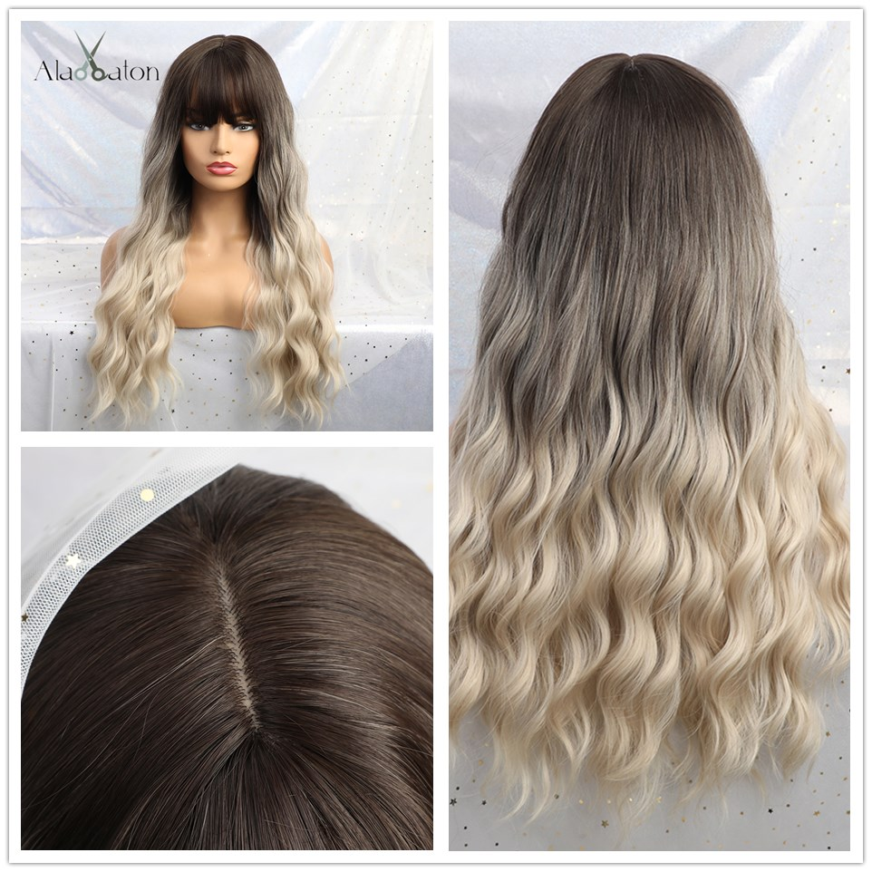 Image 5 - ALAN EATON Cosplay Long Wavy Hair Wigs Heat Resistant Synthetic Wigs for Women Natural Fake Hair with Bangs Black Red Ombre WigsSynthetic None-Lace  Wigs   -