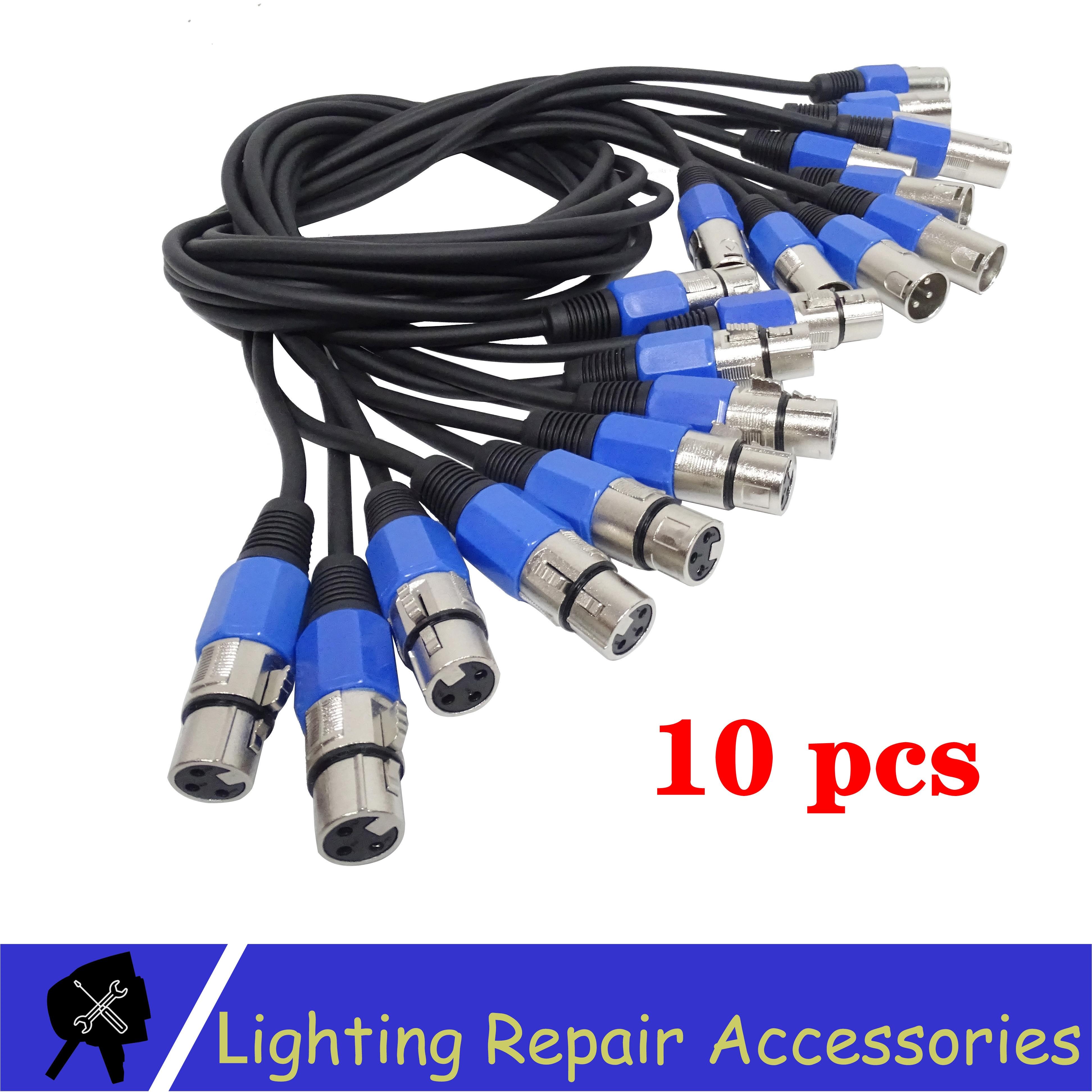 משלוח מס 10 Pcs/lots 3 פינים DMX כבל 1 M/2 M/3 M/5 M /10M Led Par אור חיבור כבל DMX אות קו משמש שלב אור