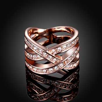 Rose Gold Platinum Plated Fashion Dazzling Crossed Shiny Zirconia Elegant Ring for Love Luxury Jewelry Party LKN18KRGPR001 image