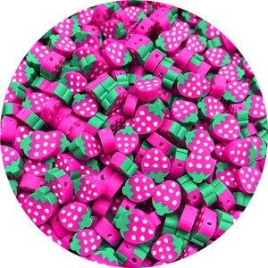 30 pçs/lote 10mm Morango Contas Polymer Clay Beads Misto de Cor Polymer Clay Spacer Beads Para Fazer Jóias DIY Pulseira