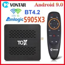 TOX1 Amlogic S905X3 Смарт ТВ BOX Android 9 ТВ коробка 4 Гб Оперативная память 32G Встроенная память двухъядерный процессор Wi-Fi 1000 м BT4.2 4K Декодер каналов кабе...
