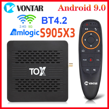 Tox1 amlogic s905x3 smart tv box android 9 tvbox 4gb ram 32g rom duplo wifi 1000m bt4.2 4k conjunto caixa superior suporte dolby atmos áudio