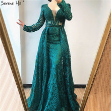 Evening Dresses Crystal Mermaid Lace Dubai Long-Sleeves Green Plus-Size V-Neck BLA70159