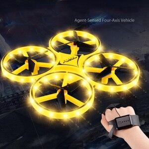 Image 3 - طائرة مروحية مصغرة التعريفي الطائرة بدون طيار ساعة ذكية استشعار اليد إيماءة عن بعد RC الطائرات UFO تحلق كوادكوبتر ألعاب الاطفال التفاعلية