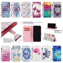 高級 3D 塗装電話ケース iphone 2019 5.8 6.1 6.5 フリップ Pu レザー財布カードスロットカバー携帯電話バッグ Coque キャパギフト