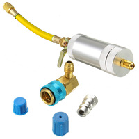 Car 40mm A/C Oil & Dye Injector R134A Quick Coupler Adapter Connectors Parts Set