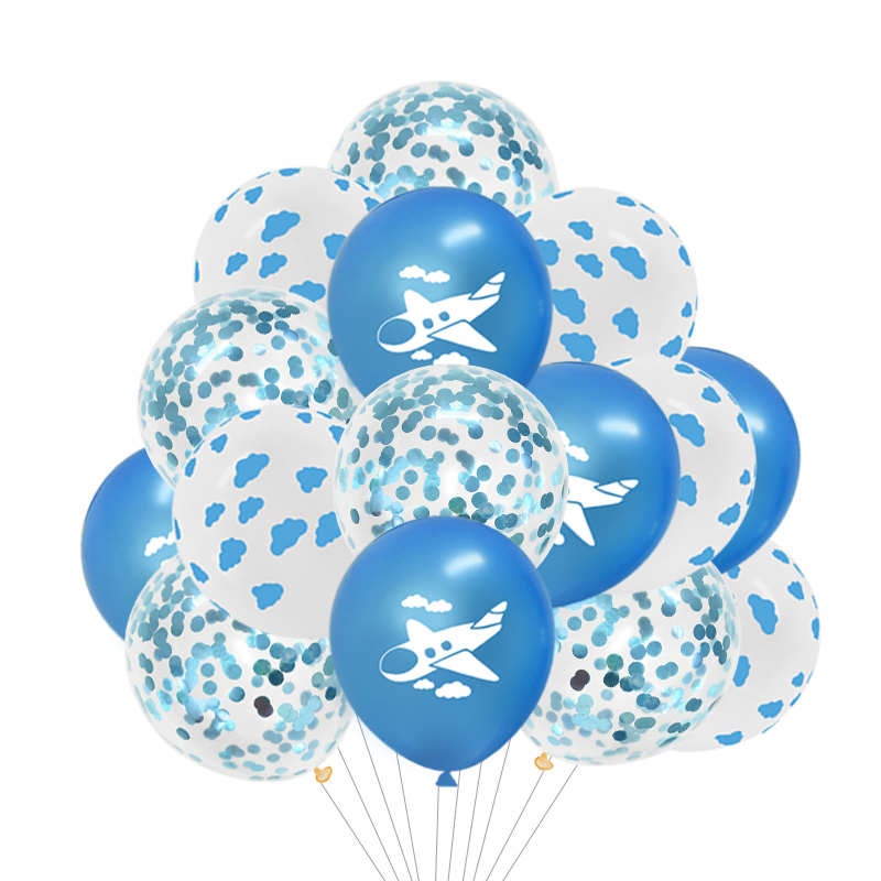 12inch Cartoon Cloud Airplane Balloon Blue White Latex Balloon with Confetti Kids Birthday Party Baby Shower Air Ball Decoration image