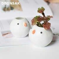 Mini maceta de cerámica con forma de pájaro pequeño para flores, maceta de cerámica con forma de Cactus para decoración del hogar de escritorio