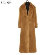 2021Winter Clothing Women Large Size Fluffy Fur Jacket X-Long Parkas Warm Faux Fur Coat Korean Fashion Lapel Overcoat Female