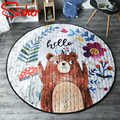 Cartoon Round Rugs Baby Play Toys Rabbit Animals Carpet soft playmat Game Mat outdoor Crawling pad Nursery Rug tapete Anti-slip