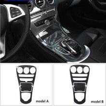 Carro abs console central painel decoração capa guarnição para mercedes benz classe c w205 glc x253 cor de fibra carbono adesivo