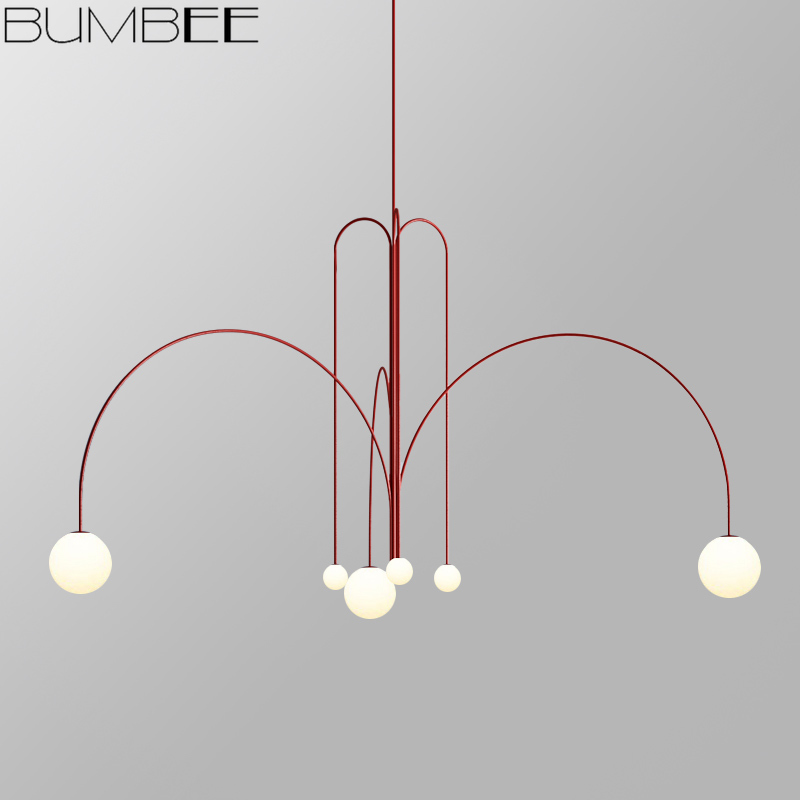 Nordic Minimalist Designer Line Chandelier Living Room Coffee Shop Hanglamp Loft Decor Luminaire Suspendu Hanging Light Fixture